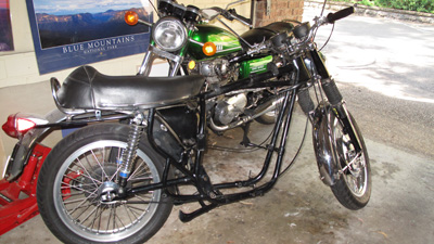 BSA frame with engine out and my Yamaha XS 650 in the background